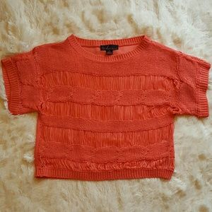 TAKEOUT coral crocheted sheer crop top shirt •XS•